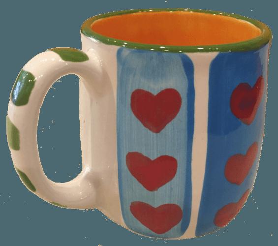 pottery painting ceramic mug with heart